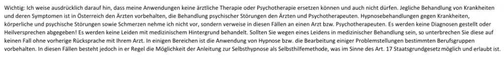 Hypnose Waldviertel, Hypnosesitzungen