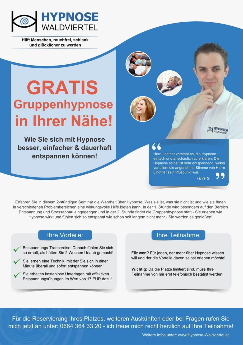 Kostenlose Gruppenhypnose, Stress reduzieren, Hypnose Waldviertel